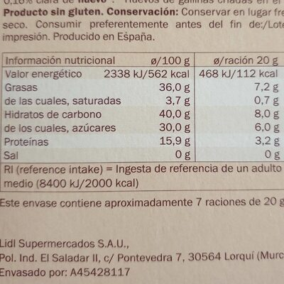 Torta imprial - Nutrition facts