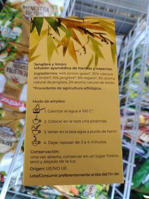 Jengibre y limón - Ingredientes - es