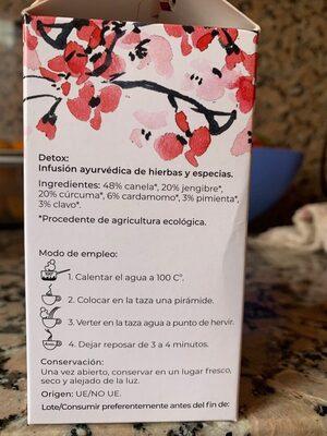 Wellness organic tea - Información nutricional - es
