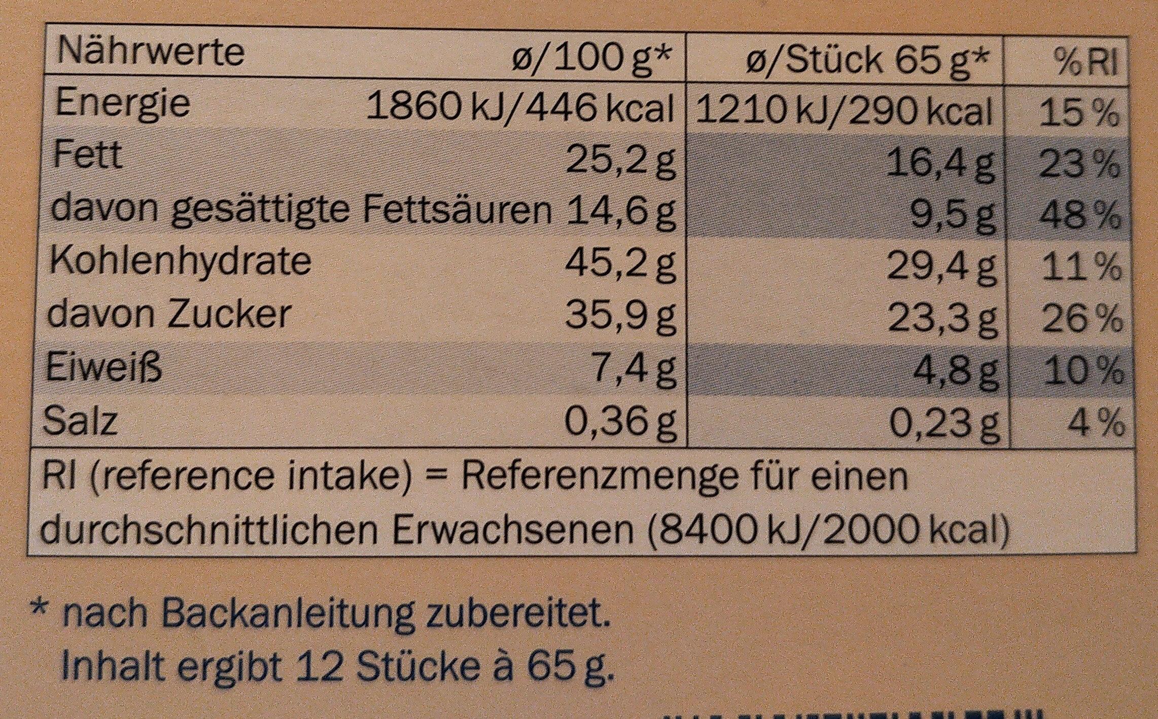 Tarte au Chocolat, Schokolade - Nutrition facts - de