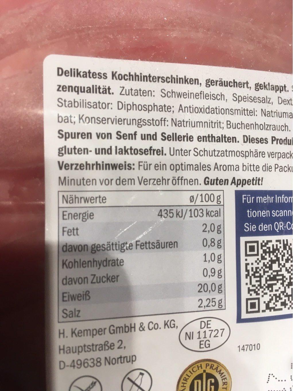 Smoked Ham - Voedigswaarden