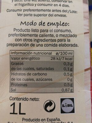 Caldo de cocido - Nutrition facts