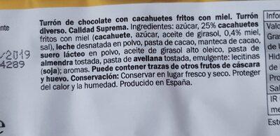 Turrón de chocolate cacahuete frito miel - Información nutricional - es