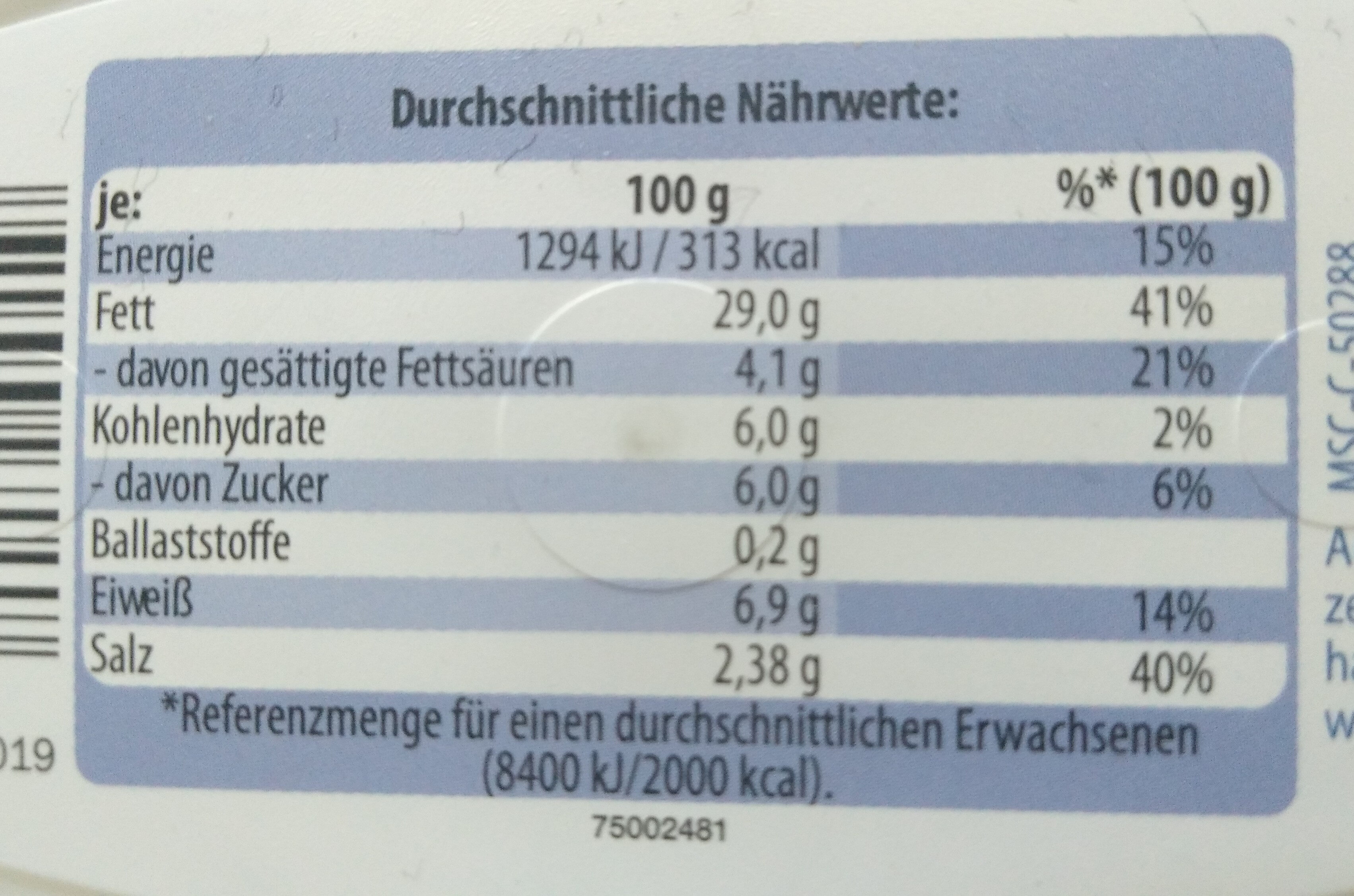 Sahne Heringsfilets - Nutrition facts