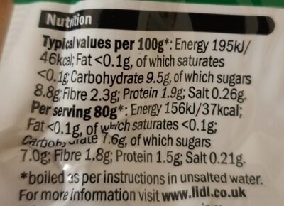 Cooked Beetroot - Valori nutrizionali - en