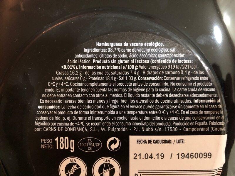 Hamburguesa Ecológica - Vacuno Selección - Old Jack - Ingredients - es