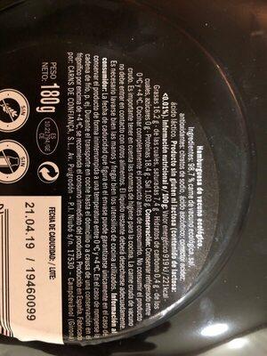 Hamburguesa Ecológica - Vacuno Selección - Old Jack - Ingredients