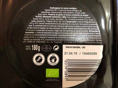 Hamburguesa Ecológica - Vacuno Selección - Old Jack - Nutrition facts - es