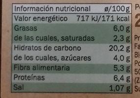 Croquetas de champiñón y tofu - Nutrition facts - es