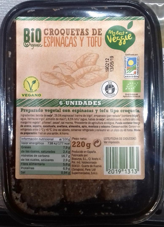 Croquetas de espinaca y tofu - Producte