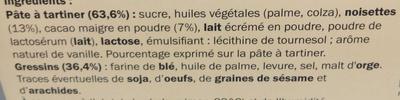 Pâte à tartiner aux noisettes et Gressins - Ingrédients - fr