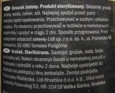 Groszek zielony pasteryzowany - Składniki