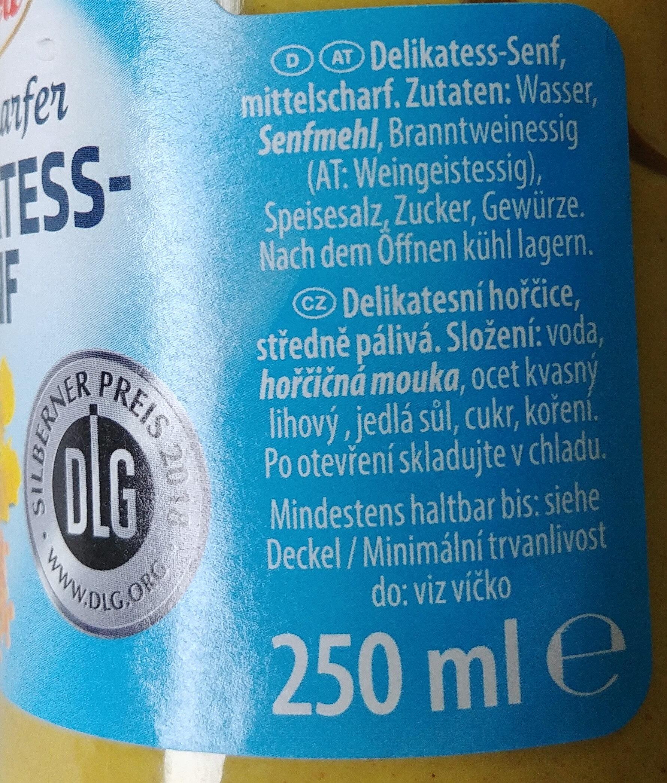Delikatess-Senf mittelscharf - Ingrédients - de