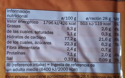 Galleta tostada - Informations nutritionnelles - es