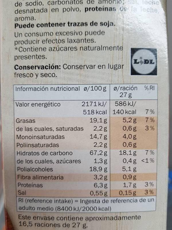 Galleta dorada - Información nutricional