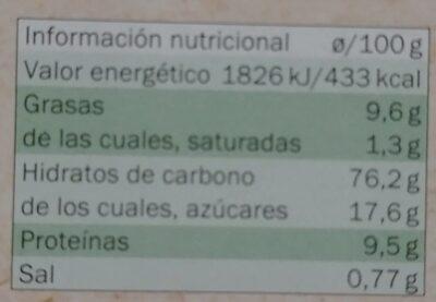 Bio  María orgánica original - Información nutricional - es