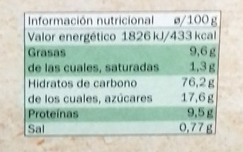 María Original Bio - Informació nutricional