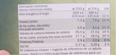 Tarta de manzana - Informations nutritionnelles - fr