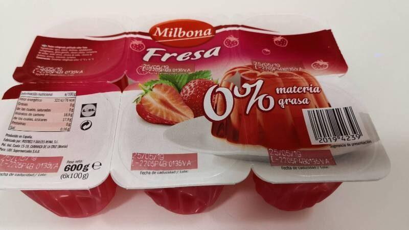Gelatina Fresa - Producto