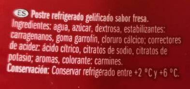 Gelatina Fresa - Ingredientes