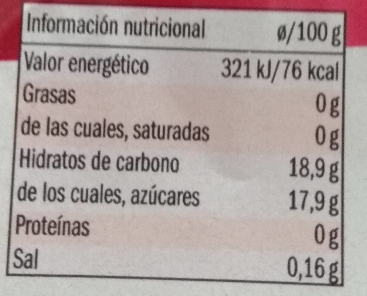 Gelatina Fresa - Información nutricional