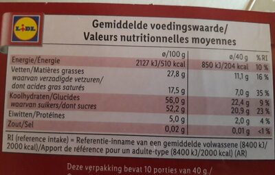Pure chocolade - Informations nutritionnelles - nl