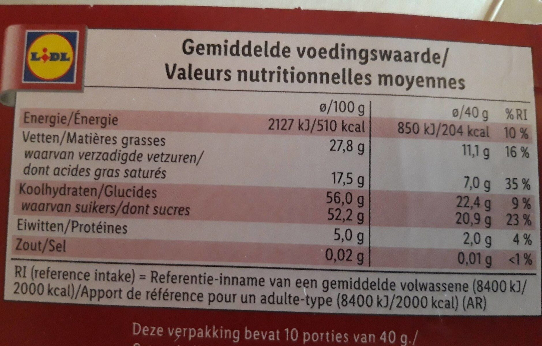 Pure chocolade - Nutrition facts - nl
