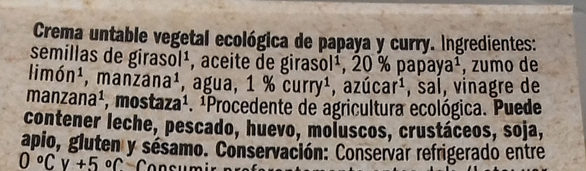 Untable vegetal de papaya y curry - Ingredients