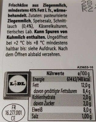 Ziegenfrischkäse Schnittlauch - Nutrition facts - en
