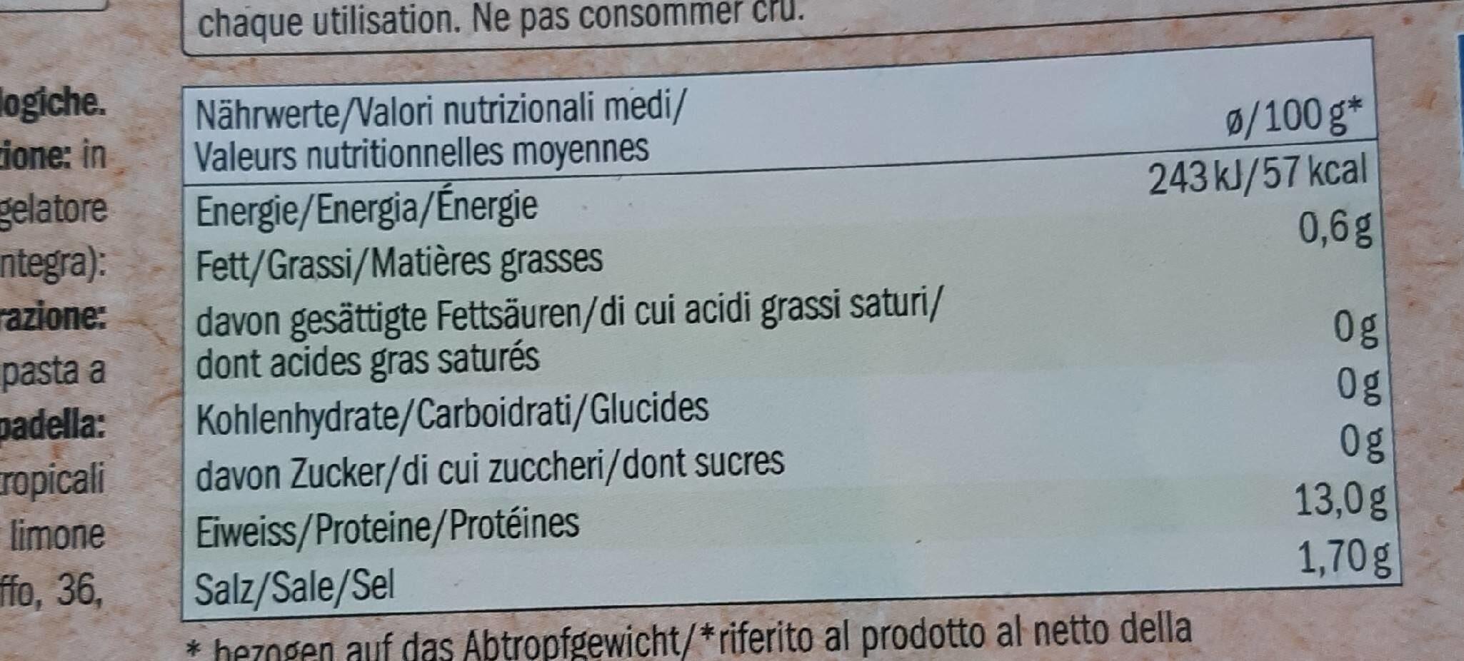Bio krevety tygří - Informations nutritionnelles - fr