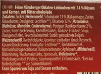 Nürnberger Oblaten-Lebkuchen Bitterschokolade - Ingrédients - de