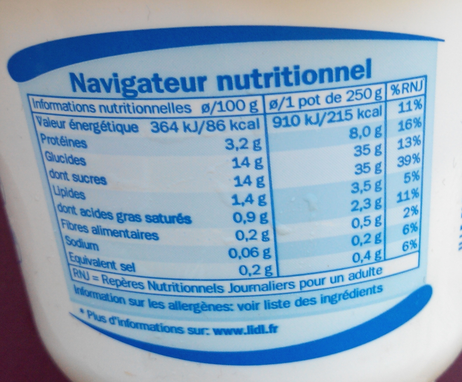 Yaourt Pomme - Nutrition facts