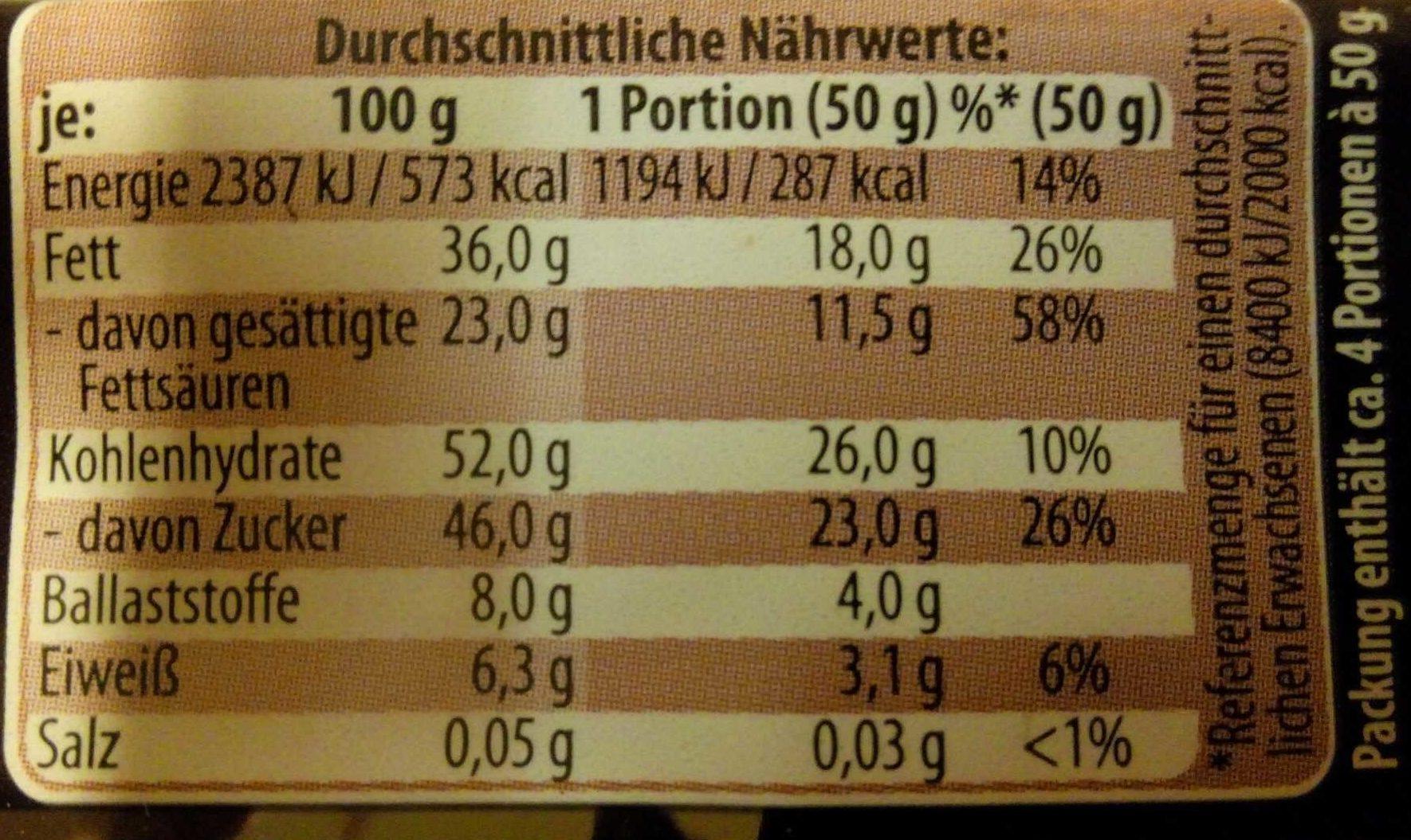 Feine Kuvertüre Zartbitter - Voedingswaarden