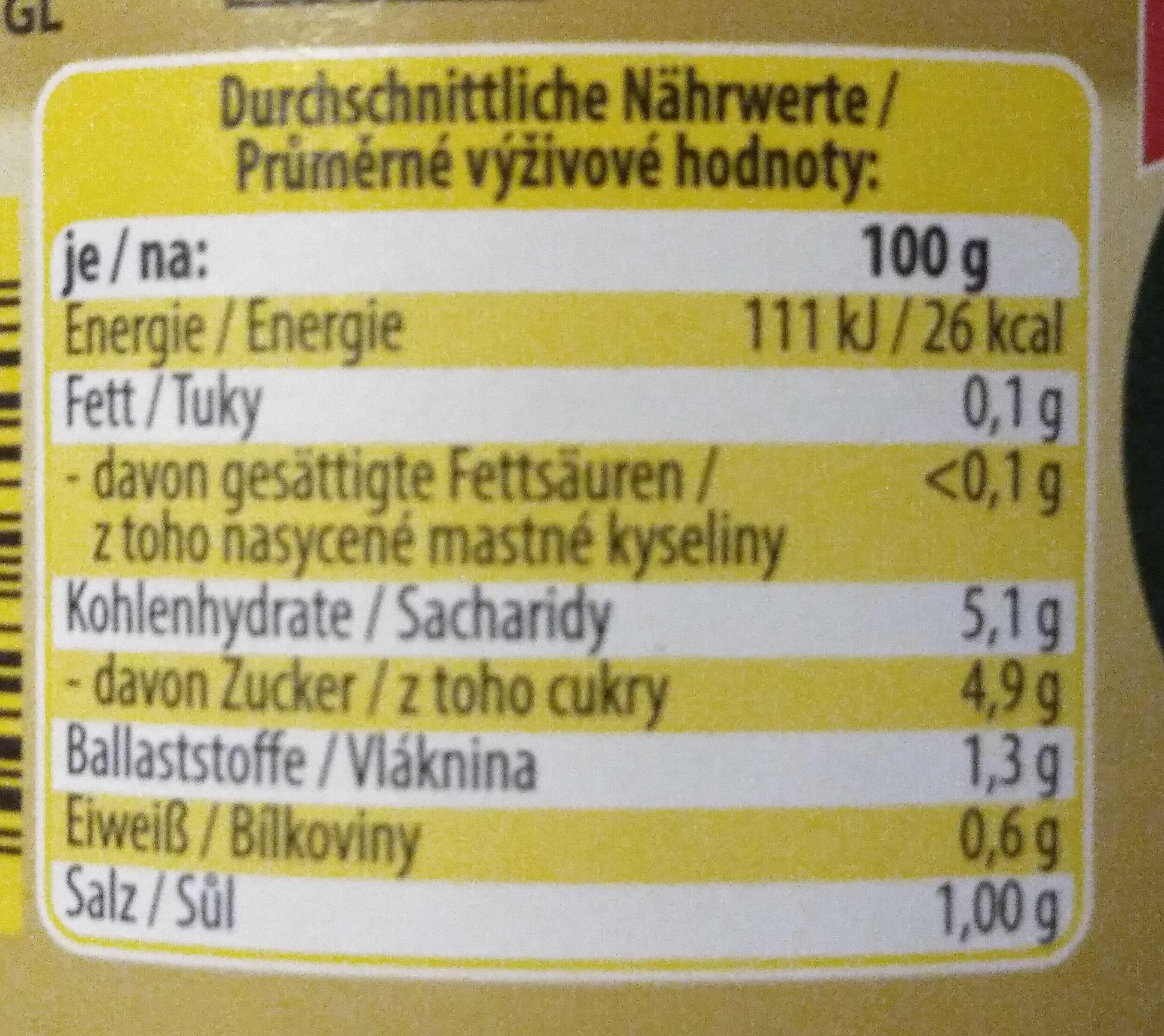 Sellerie in Scheiben (leicht sauer) - Informations nutritionnelles