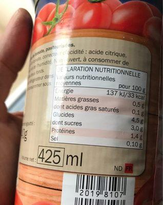 Tomates pelées - Ingrédients