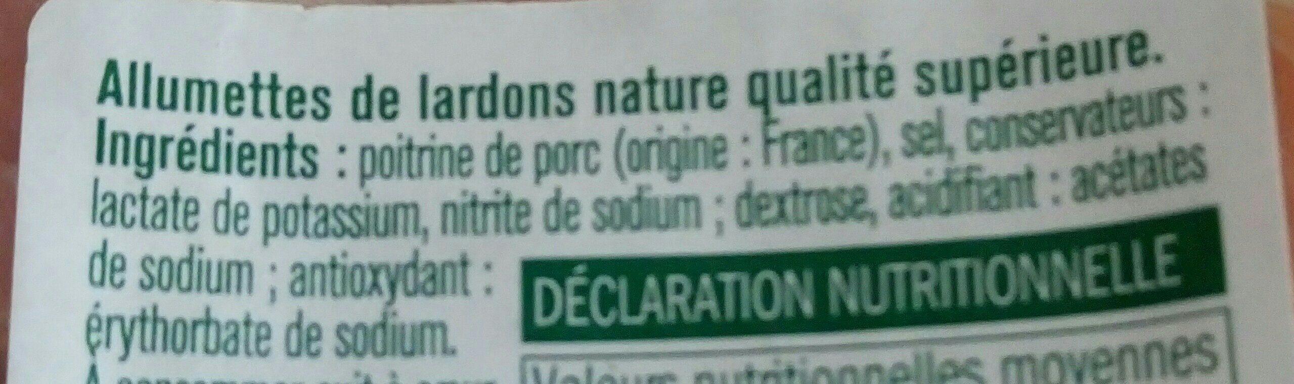 Allumettes de lardons nature - Ingredients - fr