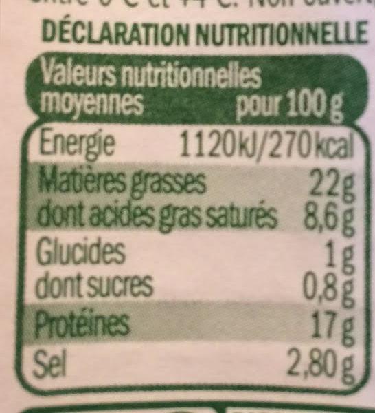 Allumettes de lardons nature - Voedingswaarden - fr