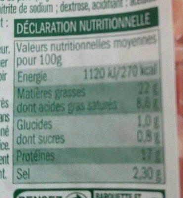 Allumettes de lardons nature - Nutrition facts - fr