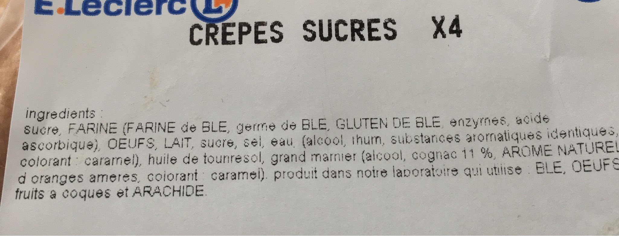 Crepes au sucre - Voedigswaarden