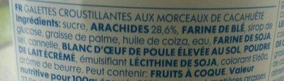 Galettes aux cacahuètes - Ingrédients