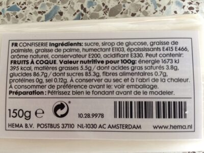 Confiserie - Nutrition facts