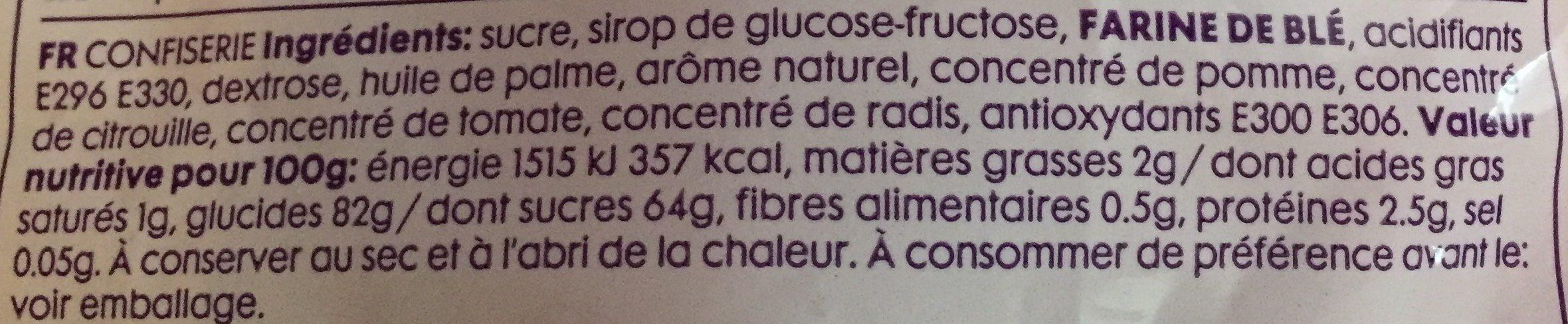Strawberry Flavour Sour Belts - Ingrédients - fr