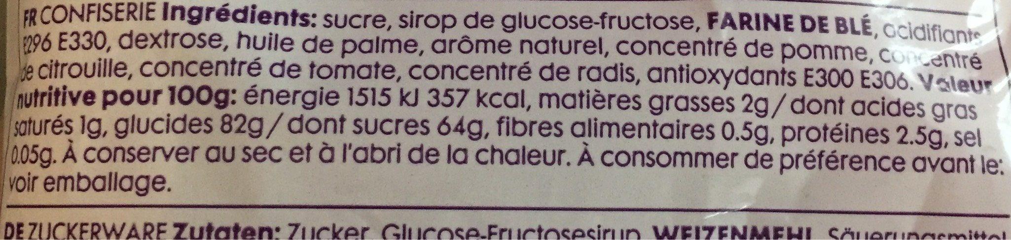 Strawberry Flavour Sour Belts - Informations nutritionnelles - fr