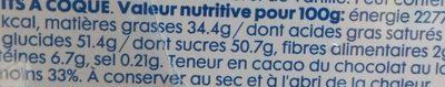Tulipe Chocolat au Lait - Informations nutritionnelles - fr