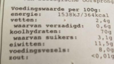 Fusili - Voedingswaarden - nl