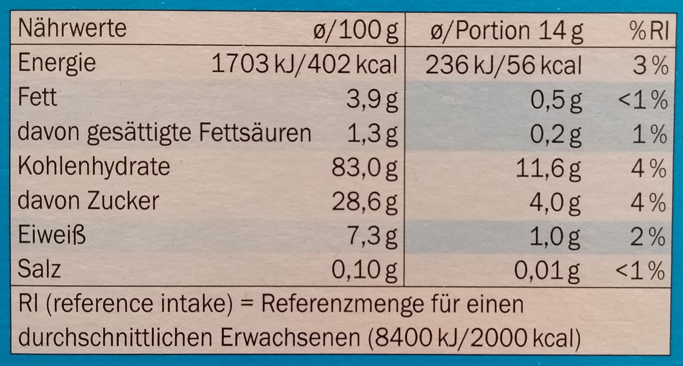 Eistüten klassisch - Voedingswaarden - de