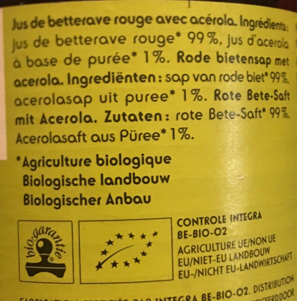 Jus de betterave rouge - Ingrediënten - en