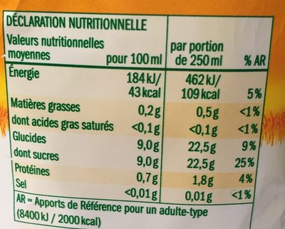 jus d'orange 100%pur jus - Voedingswaarden - fr