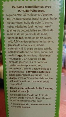 Muesli Croustillant aux fruits - Ingredients