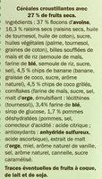 Muesli Croustillant aux Fruits - Ingrediënten